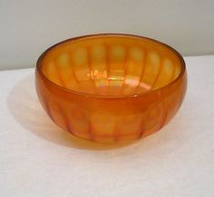 Vintage Carnival Glass Paneled Bowl Peacock by WildrosePrimitives