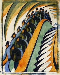 '' by Cyril Power associates the force of German Exp… ''Whence & Whither?'' by Cyril Power associates the force of German Expressionism with the rhythmical thrust of Italian Futurism Italian Futurism, Futurism Art, Art Prints For Sale, London Underground, Art Moderne, Art Graphique, Linocut Prints, Dieselpunk, Printmaking