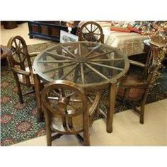 little kitchen primitive tables | PRIMITIVE RUSTIC WAGON WHEEL DINING TABLE CHAIR#1988553