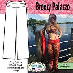 PDF SEWING PATTERN - boho chic palazzo pant pattern with rolled hip band