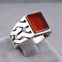 Handmade Jewelry Red Ruby Stone 925 Sterling Silver Men's Ring Size US 7 - 12.5 | Jewelry