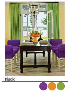 The Triadic Colors In This Room Are Purple Orange And Green I Think