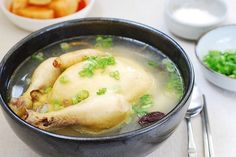 Ginseng chicken soup, samgyetang, is an iconic summer dish in Korea. The ginseng flavored meat is tasty and tender, and the broth is rich and delicious! Korean Dishes, Korean Food, Ginseng Chicken Soup, Cheesy Potato Soup, Korean Chicken, K Food, Turkey Soup, Kitchen, Recipes