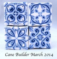 polymer clay blue tile canes