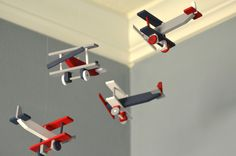 Airplane Nursery Mobile Nursery Decor - Biplane - Navy White Red Gray
