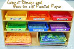 How To Create Painted Paper 101 – Painted Paper Art Art Classroom Management, Elementary Art Rooms, Supply Labels, Paint Storage, Paper Organization, Organizing, Paper Weaving, Learn Art, Rainbow Art