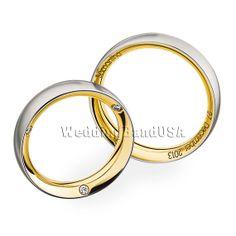 Gold Wedding Band, Mans and Ladys Matching Wedding Bands,Custom Made Wedding Set,Diamond Wedding Band,Free Laser Engraving, Free Gift Box.