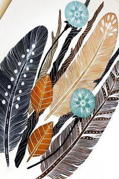 Идеи для декора: рисуем перья акварелью. Понравилась идея? Лайкни ее на удачу!