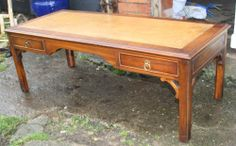Vintage mahogany leather Bevan Funnell large coffee table Reprodux