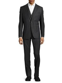 BOSS Three-Piece Wool Suit. #boss #cloth #suit