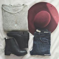 grey sweater, dark denim jeans, black Chelsea boots, hat, necklace