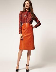 ASOS A-line Midi Leather Skirt Orange