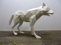 "Saatchi Art Artist Paul Cummings; Sculpture, ""Wolf Lupa"" #art paper, sculpture, virtual, wolf, 3d, dgital, paper model, animal, paul Cummings, Mark Cummings"