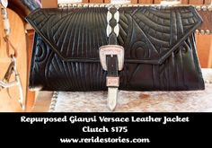 Repurposed Gianni Versace Leather Jacket -Clutch Black by ReRideStories on Etsy Versace Leather Jacket, Gianni Versace, Chanel Boy Bag, Repurposed, Shoulder Bag, Trending Outfits, Purses, Unique Jewelry, Handmade Gifts