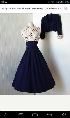 Retro Two Pieces Belted Rocakbilly Homecoming Party Vintage Dress Navy Blue Full . Women Retro Two Pieces Belted Rocakbilly Homecoming Party Vintage Dress Navy Blue Full Skirt Pin up Dress with Polka Dot Bodice and Bolero Jacket Pin Up Dresses, 1940s Dresses, Pretty Dresses, Beautiful Dresses, Dress Up, 1940s Fashion Dresses, Dot Dress, Dress Fashion, 1940s Fashion Women