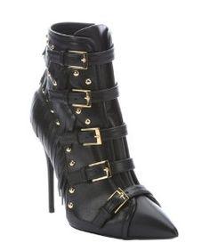 Giuseppe Zanottiblack leather 'Yvette Jeti' fringe detail ankle booties
