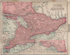 Antique ONTARIO Canada Map Pretty Small Map of by plaindealing