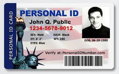 The Personal ID Card and Personal ID Number protect your social security number and drivers license number.