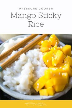 Pressure Cooker Mango Sticky Rice with Coconut Cream is a classic Thai dessert that's creamy, refreshing, and the perfect end to a spicy meal!