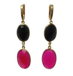 Completly Handmade Onyx Dangler 925 Sterling Silver Gold Micron Overley Earring #Articulate