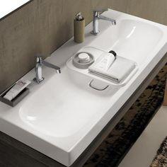 Keramag Citterio Waschtisch B: 120 T: 50 cm mit zwei Hahnlöchern, ohne Überlauf weiß mit KeraTect ®
