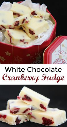 This White Chocolate Cranberry Fudge is HEAVEN! I could easily coin this the best chocolate fudge ever, great for holiday baking and exchanges Christmas Appetizers, Holiday Desserts, Holiday Baking, Christmas Baking, Christmas Treats, Holiday Recipes, Christmas Recipes, Party Appetizers, Cozy Christmas
