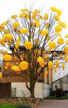 Yellow Umbrella Tree - artist unknown