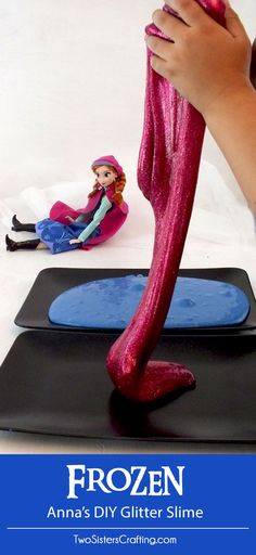 Our Anna's DIY Glitter Slime is beautiful and sparkly homemade GAK for a Frozen Birthday Party or that Princess Anna fan in your life. Easy to make and great for a party activity or as party favors for the kids we have step by step directions on how to make this fun and colorful sensory activity for kids. Follow us for more fun Frozen Party Ideas.