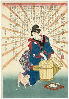 The Kimono Gallery - The Life of the Exemplary Woman Otake. Woodblock print, about Japan, by artist Ichirentei Kansai Japanese Bobtail, Japanese Cat, Japanese Artwork, Japanese Prints, Asian Cat, Japan Painting, Japan Art, Old Art, The Life