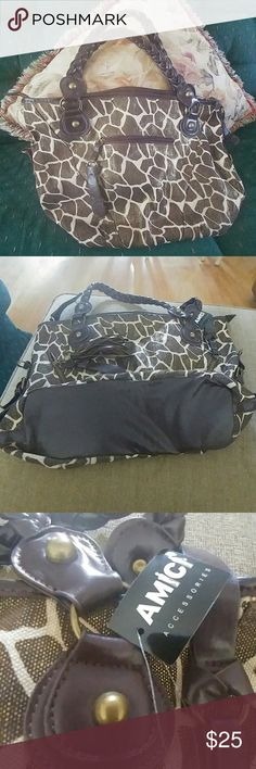Amica Accessories Tote /new Large, w/ lots of details/ shoulder or hand tote Fabric exterior Brown interior, fabric Lots of inside compartments Leopard look deco 2 back pockets 1 front pocket Great for everyday and vac. Use Bags Shoulder Bags