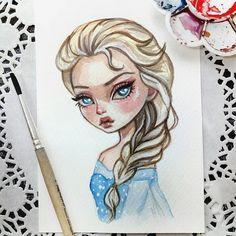 Elsa Sold out #doodletimewithkaroline #frozen #illustration #postcard #disneyart #watercolorart #instaart #elsa