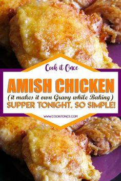 Meat Recipes, Crockpot Recipes, Chicken Recipes, Cooking Recipes, Stuffing Recipes, Amish Chicken, Baked Chicken, Crack Chicken, Tasty
