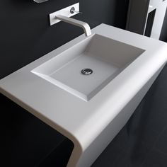 White console in stainless steel with rectangular sink mod. Mide