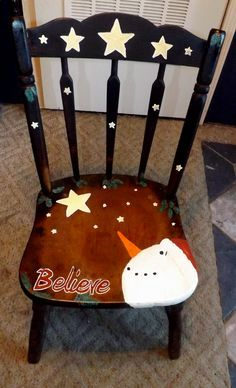 chairs painted for xmas with snowmen on then - Google Search