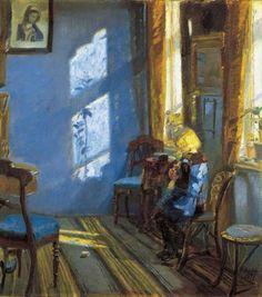 Intet rum kan være mere eget end den blå stue, hvor Anna Ancher har malet sin datter  med et håndarbejde