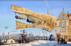 Punking The Past: The Steampunk Aesthetic Of Victorian London In Superb Paintings Of Vadim Voitekhovitch Steampunk Ship, Steampunk Kunst, Steampunk Design, Gothic Steampunk, Steampunk Clothing, Steampunk Fashion, Gothic Fashion, Zeppelin, Science Fiction