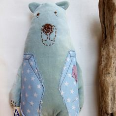 My pistachio, stuffed bear maestro is there, waiting to be loved! Gifts For Newborn Boy, Gifts For Boys, Softies, Plushies, Stuffed Bear, Dmc Floss, Craft Box, Star Patterns, Pistachio