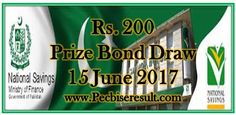Prize Bond List 200 Draw Result No. 70th at Karachi 15 June, 2017