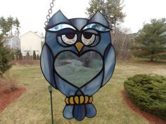 Wise Guy Stained Glass Owl in Blue Decorative Art by RiffRaffGlass