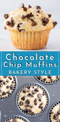Learn how to make bakery style chocolate chip muffins with simple everyday ingredients! This easy chocolate chip muffin recipe will impress everyone with those big domed muffin tops loaded with chocolate chips! #chocolatechipmuffins #muffins #bakerystylemuffins