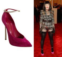 Madonna in Casadei Blade Heel Pumps With Ankle Strap