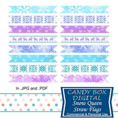Ready To Print Snow Queen Winter Straw and Toothpick Flags by CandyBoxDigital. Great for Frozen themed parties and school functions. At our Etsy shop.