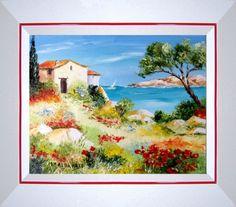 TABLEAU PEINTURE Tableaux de Provence Bord de mer, marine Paysage de Provence peintre paysagiste Marine Peinture a l'huile  - Cap au Sud