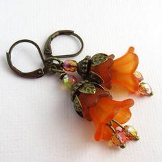 Pumkin Spice, Orange and Brown Lucite Flower Earrings, Lucite Flower Jewelry, Fall Earrings, Autumn Earrings. $18.00, via Etsy.