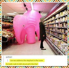 What's with the pink elephant? Do you see it ha