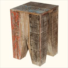 Old wood blends with modern design in our Eco-Smart Geometric End Table.This contemporary piece looks new but is built with reclaimed wood. This 'Green' wood. Modern Rustic Furniture, Reclaimed Wood Furniture, Contemporary Furniture, Square Tables, End Tables, Wood Source, Old Wood, Natural Wood, Nightstand