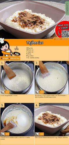 Milchreis The classic rice pudding is hot or cold a pleasure. The rice pudding recipe video is easy to find using the QR code :] pudding # Breakfast recipes Breakfast Recipes, Dessert Recipes, Dessert Dishes, Dessert Parfait, Snacks Sains, Hungarian Recipes, Pudding Recipes, Clean Eating Snacks, No Bake Cake