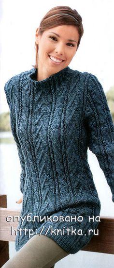 ИСТОЧНИК - http://www.arminesan.com/ Очень комфортный длинный свитер может служить еще и платьем. Рельефные узоры придают изделию особый шик. Размеры 38/40 ( 44/46).