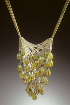 Tzu-Ju Chen - Necklace - Sterling silver, 18k yellow gold, silk and Plique-a-Jour enamel. 1998
