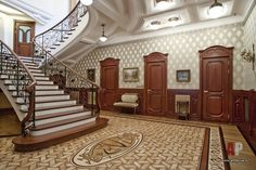 Фото интерьера лестницы дома в стиле модерн
